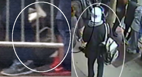 "Side-by-side photos of two different backpacks, backpack on left is close-up of pack presented by FBI as the one carried by Dzhiokhar which he allegedly placed by victim Richard Martin, Dzhokhar and Martin are both in full photo.  Image on right is Dzhokhar carrying his backpack, which is WHITE.  Prosecution maintains both killer backpacks were ""black."""